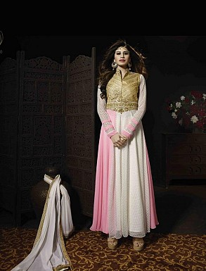 THANKAR WHITE AND PINK GEORGETTE AND NET HEVY EMBROIDERY ANARKALI SUIT @ Rs4387.00