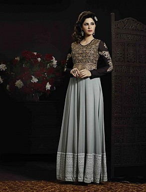 THANKAR GREY AND BLACK GEORGETTE AND VELVET HEVY EMBROIDERY ANARKALI SUIT @ Rs5067.00
