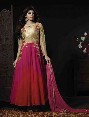 THANKAR GEORGETTE AND PINK SILK AND NET HEVY EMBROIDERY ANARKALI SUIT @ Rs4140.00