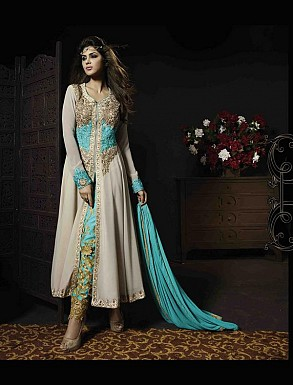 THANKAR OFF WHITE AND AQUA GEORGETTE HEVY EMBROIDERY ANARKALI SUIT @ Rs5067.00