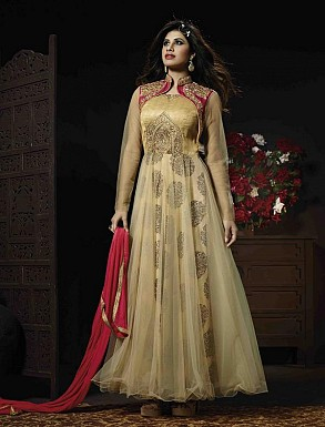 THANKAR BEIGE AND RED GEORGETTE AND NET HEVY EMBROIDERY ANARKALI SUIT @ Rs4634.00