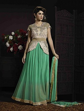 THANKAR GREEN SOFT NET HEVY EMBROIDERY ANARKALI SUIT @ Rs4140.00