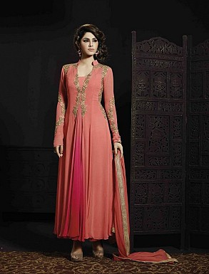 THANKAR PEACH GEORGETTE HEVY EMBROIDERY ANARKALI SUIT @ Rs4634.00