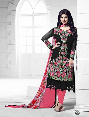 THANKAR BLACK AND PINK HEAVY EMBROIDERY STRAIGHT SUIT @ Rs1915.00