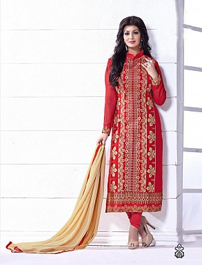 THANKAR RED AND BEIGE HEAVY EMBROIDERY STRAIGHT SUIT @ Rs1915.00