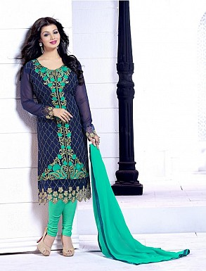 THANKAR NAVY BLUE AND GREEN HEAVY EMBROIDERY STRAIGHT SUIT @ Rs1915.00