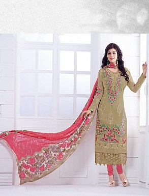 THANKAR BEIGE AND PEACH HEAVY EMBROIDERY STRAIGHT SUIT @ Rs1915.00