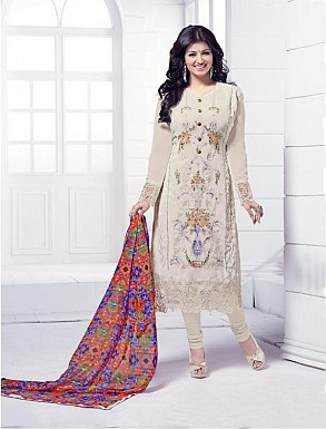THANKAR OFF WHITE HEAVY EMBROIDERY STRAIGHT SUIT @ Rs1915.00