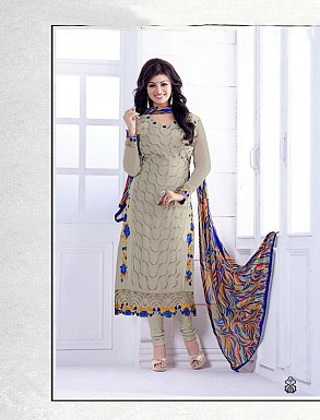 THANKAR GREY HEAVY EMBROIDERY STRAIGHT SUIT @ Rs1915.00