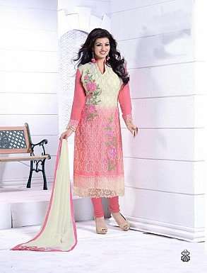 THANKAR OFF WHITE AND PINK HEAVY EMBROIDERY STRAIGHT SUIT @ Rs1915.00