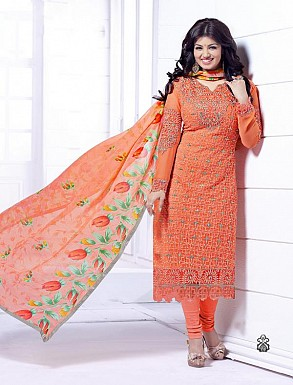 THANKAR ORANGE HEAVY EMBROIDERY STRAIGHT SUIT @ Rs1915.00