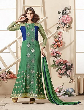 Thankar Latest Heavy Embroidered Designer Green Straight Suits @ Rs2224.00