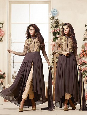 Thankar Latest Heavy Embroidered Designer Brown Anarkali Suits @ Rs2224.00