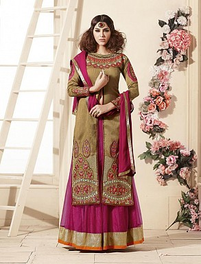 Thankar Latest Heavy Embroidered Designer Beige Straight Suits @ Rs2224.00