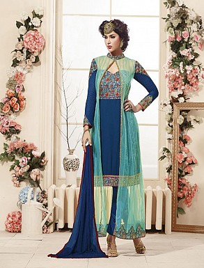 Thankar Latest Heavy Embroidered Designer Blue Straight Suits @ Rs2224.00