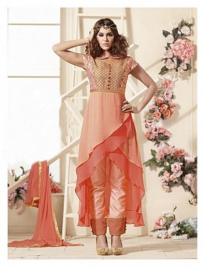 Thankar Latest Heavy Embroidered Designer Orange Straight Suits @ Rs2224.00