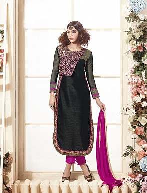 Thankar Latest Heavy Embroidered Designer Black Straight Suits @ Rs2224.00