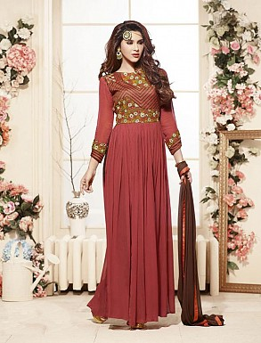 Thankar Latest Heavy Embroidered Designer Red Anarkali Suits @ Rs2224.00