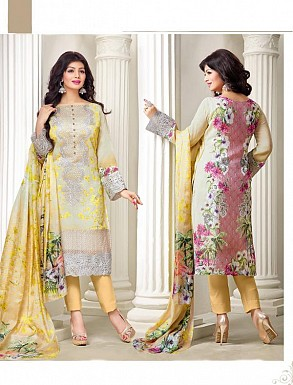 Thankar Exclusive Embroidered Designer Yellow Straight Suits @ Rs2224.00