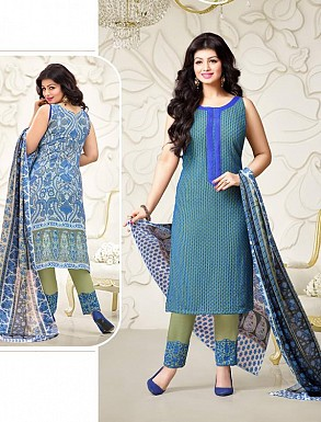 Thankar Exclusive Embroidered Designer Blue Straight Suits @ Rs2224.00