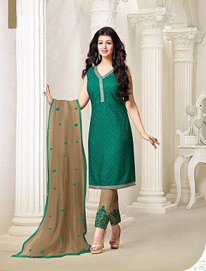 Thankar Exclusive Embroidered Designer Green Straight Suits @ Rs2224.00