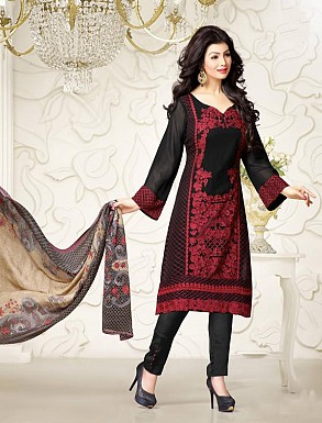 Thankar Exclusive Embroidered Designer Black Straight Suits @ Rs2224.00