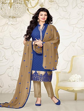 Thankar Exclusive Embroidered Designer Blue And Cream Straight Suits @ Rs2224.00