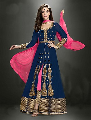 Thankar Latest Heavy Floor Length Designer Blue Anarkali Suit @ Rs4634.00