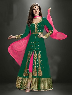 Thankar Latest Heavy Floor Length Designer Green Anarkali Suit @ Rs4634.00