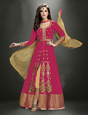 Thankar Latest Heavy Floor Length Designer Pink Anarkali Suit @ Rs4634.00