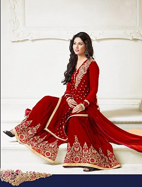 Thankar Latest Heavy Floor Length Designer Red Anarkali Suit @ Rs1730.00