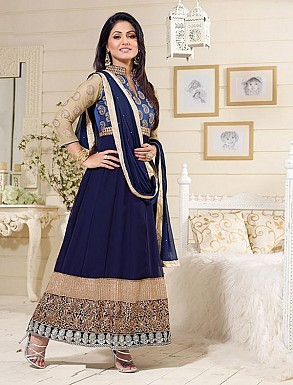 Thankar Exclusive Embroidered Designer Navy Blue Anarkali Suits @ Rs1359.00