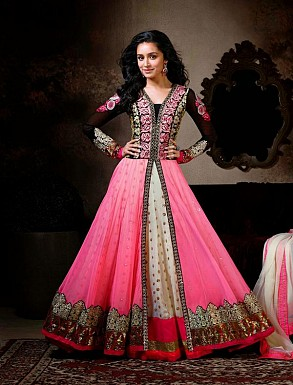 Thankar Exclusive Embroidered Designer Pink Anarkali Suits @ Rs1668.00
