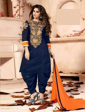Thankar Exclusive Embroidered Designer Navy Blue Patiyala Suits @ Rs1235.00