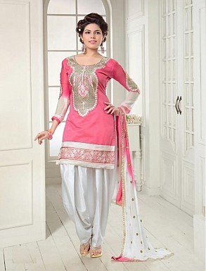 Thankar Exclusive Embroidered Designer Pink And Off White Patiyala Suits @ Rs1235.00