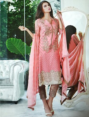 Thankar Georgette Embroidered Designer Pink Straight Suits @ Rs2224.00