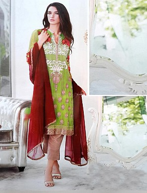 Thankar Georgette Embroidered Designer Parrot Straight Suits @ Rs2224.00
