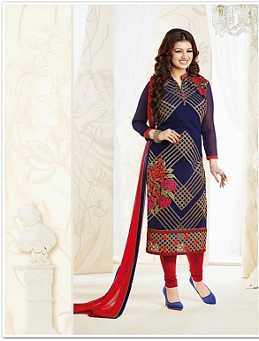 Thankar Georgette Embroidered Designer Navy Blue Straight Suits @ Rs1730.00