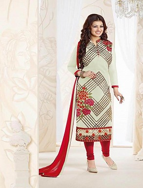 Thankar Georgette Embroidered Designer Off White Straight Suits @ Rs1730.00