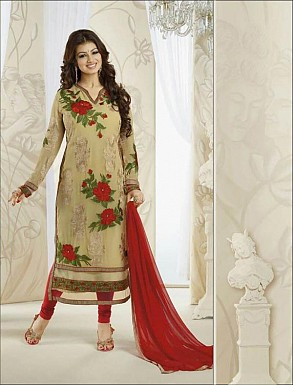Thankar Georgette Embroidered Designer Cream Straight Suits @ Rs1730.00