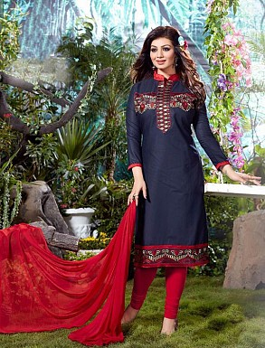 Thankar Cotton Embroidered Designer Navy Blue Straight Suits @ Rs1050.00