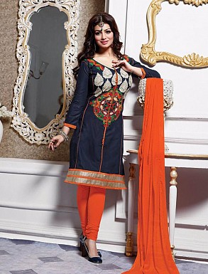 Thankar Cotton Embroidered Designer Dark Grey Straight Suits @ Rs1050.00