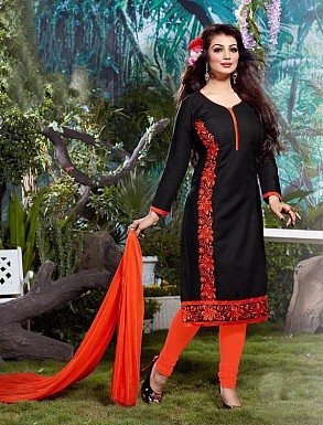 Thankar Cotton Embroidered Designer Black Straight Suits @ Rs1050.00