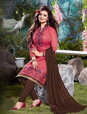Thankar Cotton Embroidered Designer Pink Straight Suits @ Rs1050.00