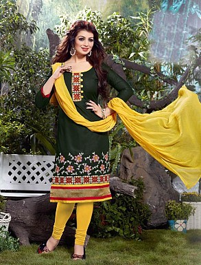 Thankar Cotton Embroidered Designer Green Straight Suits @ Rs1050.00