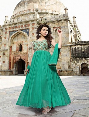Thankar Sea Green Heavy Designer Georgette Anarkali Suits @ Rs1421.00