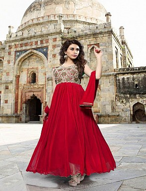 Thankar Red Heavy Designer Georgette Anarkali Suits @ Rs1421.00