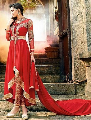 Thankar Red Heavy Designer Georgette Anarkali Suits @ Rs1050.00