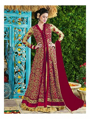 Thankar Red Heavy Designer Net Anarkali Suits @ Rs3645.00