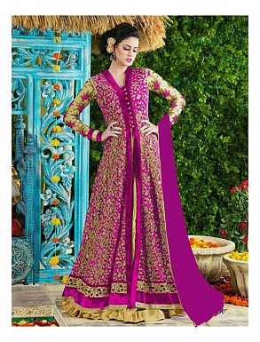 Thankar Pink Heavy Designer Net Anarkali Suits @ Rs3645.00